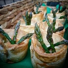 Our eye-catching and #delicious #asparagus and hollandaise soufflé #pies at @WyeFarmersMkt