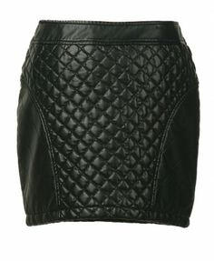 A-line Quilting Mini Leather Skirt!