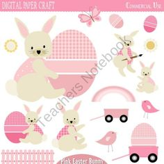 Pink Easter Bunny product from Digital-PaperCraft on TeachersNotebook.com