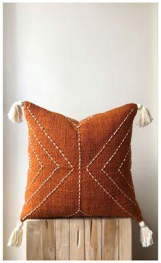 Orange Throw Pillows, Boho Throw Pillows, Boho Cushions, Diy Pillows, Decorative Pillows, Orange Pillow Covers, Handmade Cushions, Velvet Cushions, Craft Ideas