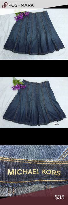 """Michael Kors denim trumpet flair skirt 10 Gorgeous denim skirt perfect with a t-shirt and booties. Rear zipper. 33"""" waist, 25"""" length. 100% cotton. Really great pre-loved condition! ✅offers❌trades/PP bundles save 20% off 2+ Michael Kors Skirts"""