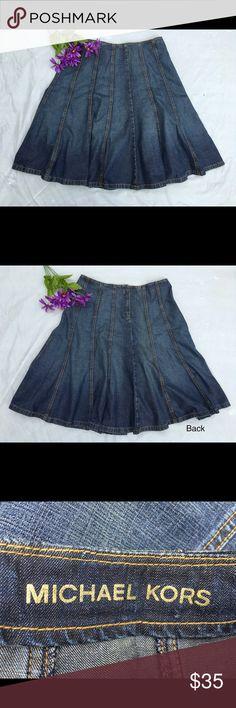 "Michael Kors denim trumpet flair skirt 10 Gorgeous denim skirt perfect with a t-shirt and booties. Rear zipper. 33"" waist, 25"" length. 100% cotton. Really great pre-loved condition! Michael Kors Skirts"