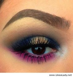 Pink and blue eye makeup