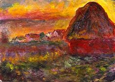 ACEO Haystack at Sunset in the Style of Monet Acrylic Miniature Penny StewArt #Miniature  #aceo #art #eBay #haystack #sunset #monet