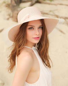 #AdoreWe #VIPme Hats & Caps - Designer Thantrue Light Pink Elegant Wide Brim Summer Holiday's Floppy Sun Hat - AdoreWe.com