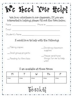 Parent Volunteer Sign-Up Sheet Freebie, provided by Jacque of ...