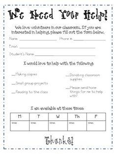 Back to School Freebie: Parent Volunteer Sign-Up Sheet | Back to ...