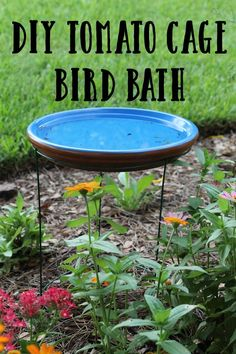 Gardening Tomatos DIY Tomato Cage Bird Bath May Garden Update 2015 - Looking for a very easy way to make a bird bath? All you need is a few garden items and this DIY project in done in minutes May Garden, Bird Bath Garden, Diy Bird Bath, Garden Art, Garden Whimsy, Glass Garden, Homemade Bird Baths, Bird Bath Planter, Herb Garden