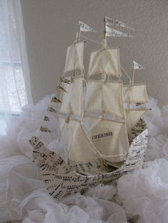 Sailing Ship with three masts Paper Mache handmade от VintageDiana Diy Paper, Paper Art, Paper Crafts, Deco Pirate, Ann Wood, Paper Mache Clay, Paper Ship, Paperclay, Altered Art
