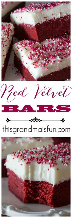 Thick and moist, if you love red velvet then these Red Velvet Bars will make your day! They are fun to make with the grandkids because what kid doesn't like sprinkling sprinkles?  Although these would be great to make on Valentine's Day, they are just as fabulous all year long!