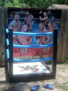 Great for pics. Only used noodles some spare wood and a pallet Wrestling Birthday Parties, Wrestling Party, Wwe Birthday, Ninja Birthday Parties, 18th Birthday Party, Birthday Party Invitations, Birthday Party Themes, Birthday Ideas, Carnival Birthday