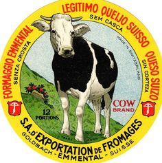 ORIGINAL COLOURFUL VINTAGE SWISS CHEESE LABEL COW BRAND - 1930s