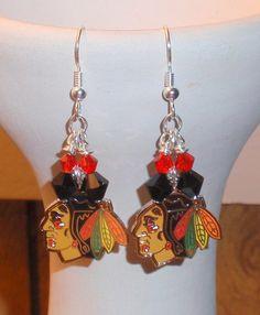 Blackhawks Earrings. I love these. #Blackhawks