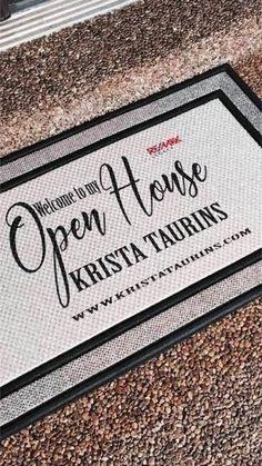 Realtor Marketing - Open House Door Mat - Personalized - Real Estate Open House - Realtor Advertising - Real Estate Agent Door Mat by CompanyTwentySix Real Estate Gifts, Real Estate Career, Real Estate Business, Selling Real Estate, Real Estate Investing, Real Estate Marketing, Inmobiliaria Ideas, Gift Ideas, Realtor Signs