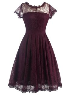 https://sensualshoesandclothingboutique.com/products/retro-lace-v-back-burgundy-dress - Retro Lace V Back Burgundy Dress $49.99