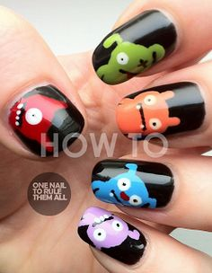 One Nail To Rule Them All: Ugly Doll Nails Tutorial http://onenailtorulethemall.blogspot.com/2012/08/ugly-doll-nails-tutorial.html