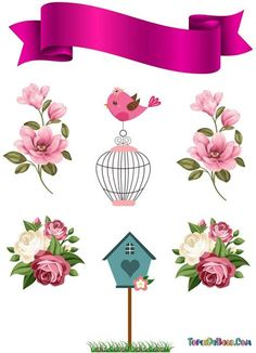 Diy And Crafts, Crafts For Kids, Paper Crafts, Flower Frame, Flower Art, Pink Glitter Background, Homemade Stickers, Happy B Day, Decoupage Paper
