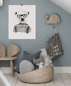 Black and White Prints for Nursery, Bear Wall Art Print, Boys Room Wall Art Art mural animal de hipster impression … White Nursery, Nursery Room, Boy Room, Nursery Decor, Room Decor, Nursery Ideas, Room Ideas, Boy Toddler Bedroom, Girls Bedroom