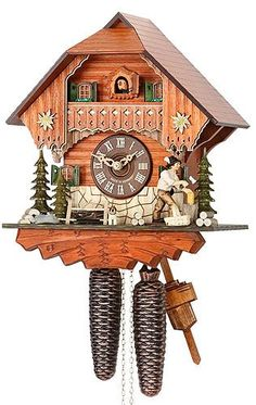 German Cuckoo Clock 8-day-movement Chalet-Style 12.00 inch – Authentic black forest cuckoo clock by Hekas