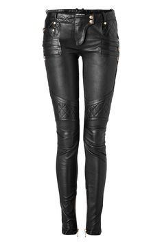 Balmain Fall 2012, black studded and quilt-detailed leather pants