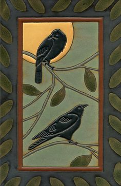 Black Birds by the Bungalow. Azulejos Art Nouveau, Art Nouveau Tiles, Craftsman Tile, Craftsman Kitchen, Devon, Crow Art, Art And Craft Design, Rabe, Arts And Crafts Movement