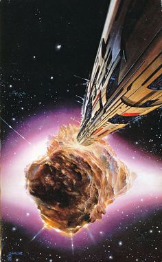 Painting by Boris for the inside cover of Vernor Vinge's Deepness in the Sky. Going by the signature the painting appears to have been mistakenly printed the wrong way around!