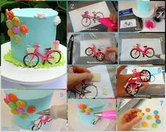 How to royal icing bike on a cake. This cute and easy Bicycle with Balloons Cake Tutorial features accents made with candy coating! Buttercream Cake Designs, Royal Icing Cakes, Fondant Cakes, Cupcake Cakes, Fondant Bow, Fondant Flowers, Fondant Figures, Cake Icing, Bicycle Party