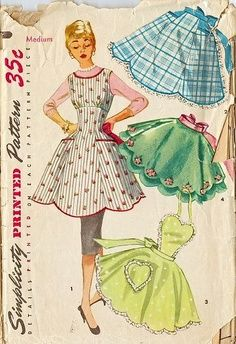 Simplicity 1393 UNCUT Vintage Sewing Pattern Misses Full Apron, Half Apron, Hostess Apron, Tea Apron Size Small Retro Apron Patterns, Vintage Apron Pattern, Vintage Sewing Patterns, Dress Patterns, Simplicity Patterns, Retro Pattern, Coat Patterns, Free Pattern, Retro Mode