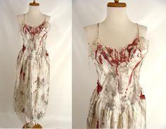 $46.00 Bloody Nightgown Sexy Zombie Slasher Victim Vampire Bride Halloween Costume M L 10 12 by wardrobetheglobe on Etsy