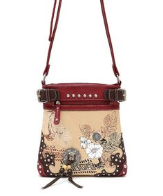 Cowgirl Trendy Burgundy Growing Flower Crossbody Bag 429550dd67fc7
