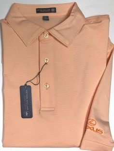 Peter Millar E4 Summer Comfort Orange White Lexus Golf Logo Polo Shirt Size L  | eBay