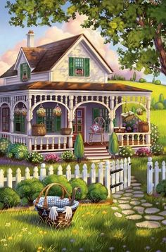 Solve Basket Case by Anne Wertheim jigsaw puzzle online with 77 pieces Beautiful Nature Wallpaper, Beautiful Paintings, Beautiful Landscapes, Beautiful Gardens, Fantasy Landscape, Landscape Art, Landscape Paintings, Landscape Photos, Landscape Wallpaper