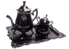 """There is a growing trend of what I'd call """"modern victorian"""" home products. This here is a tea set by Christine Misiak. She finds old silver tea sets and refurbishes them Very cool. This makes me want to go antique shopping. Victorian Tea Sets, Modern Victorian, Victorian Gothic, Victorian Vampire, Victorian Decor, Living Style, Wonderland, Goth Home Decor, Gothic House"""