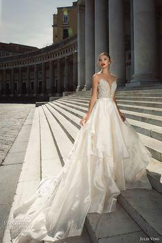 julie vino fall 2017 bridal strapless deep plunging sweetheart neckline heavily embellished bodice beautiful princess a line wedding dress halter back royal train (1217 1215) mv