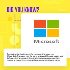 It's 4th April, this day Bill Gates and Paul Allen founded 'Micro-Soft'. Yes! It had a hyphen in between. In the course of time. the hyphen was dropped thus giving a single brand name.  Want to know more interesting facts like this one? Check out - https://www.techlila.com/interesting-facts-about-microsoft/?utm_content=buffer32710&utm_medium=social&utm_source=pinterest.com&utm_campaign=buffer  #microsoft #facts #FactsToKnow #DidYouKnow