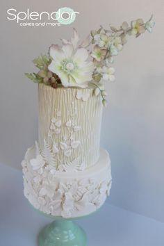 Subtle green bas-relief by Ellen Redmond@Splendor Cakes - http://cakesdecor.com/cakes/271893-subtle-green-bas-relief