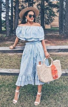 Dazzling #Striped Two Piece, Straw bag & #white #heels  #summerstyle #summeroutfit #outfits #fashion