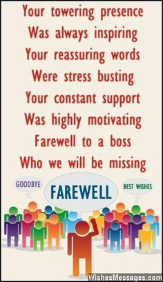 [ Goodbye Quotes Farewell Gift Party Boss Include Letters Work Offices ] - Best Free Home Design Idea & Inspiration Farewell Wishes For Boss, Farewell Words, Farewell Parties, Farewell Gifts, Farewell Cake, Send Off Message, Message For Boss, Farewell Message To Boss, Goodbye Note