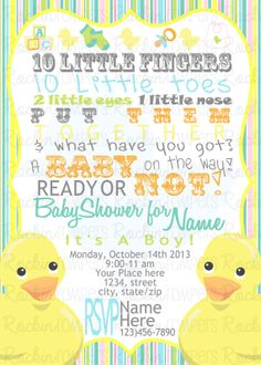 sale RUBBER DUCKIE baby shower invitation Rubber Duck tub