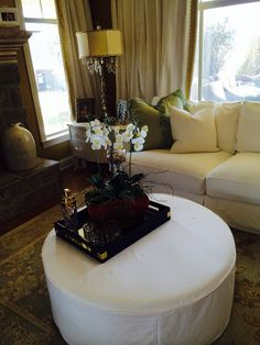 Rachael Ashwell Shabby Chic Couture slip covered ottoman. Kathy Duvall's home
