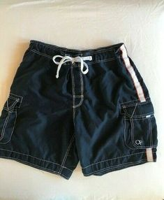 0f99eaaaef OP Ocean Pacific Mens XL 40-42 Navy Swim Trunks Cargo Board Shorts Swimwear  #