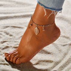 Fußkettchen Shiny Leaf Gold Fusskette Sommer  | eBay