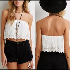 HP 5/1! White Eyelet Crop Top, NWT Adorable eyelet crop top with flared fit and pretty detailing on the hem.  Great summer top for the beach or casual outings.  Sizes 2, 4, and 6 now available! Tops Crop Tops