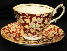Royal Albert England Brocade Chintz Dark Magenta Red Tea Cup and Saucer | eBay