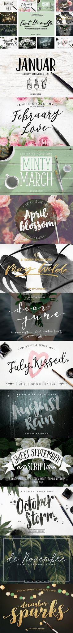 Brush Font Bundle + Extra's by Skyla Design on @creativemarket