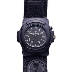 Smith & Wesson GLOW Lawman Watch with Nylon Strap - Black - Men's... ($42) ❤ liked on Polyvore featuring men's fashion, men's jewelry, men's watches, black, fashion accessories, watches, mens water resistant watches, mens watches, mens sport watches and men's blue dial watches