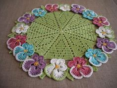 Floral Lace Crochet Doily. Round 11 Green Multicolor by LadyBugCo, $18.00