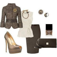 Lovely combination ~ Work outfit/ Like the peplum top, pumps, skirt and clutch