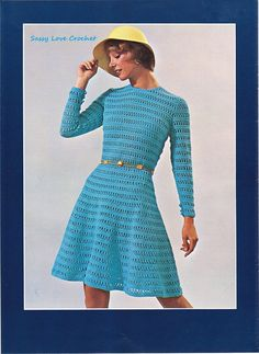 Crochet Turquoise Dress Pattern - Dress pattern -Lace Blue  Church Dress - PDF Pattern-U.S.Version