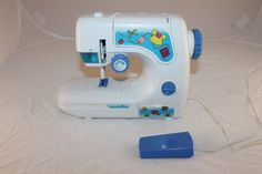 Vintage 1960s 1970s Plastic Toy Sewing Machine & Foot Pedal  #Unbranded